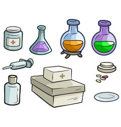 Cartoon medicine flask pills and syringe vector