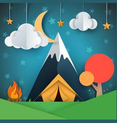 cartoon paper landscape tree mountain fire vector image