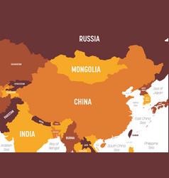 China map - brown orange hue colored on dark vector