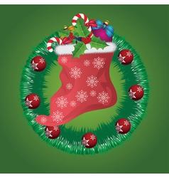 Christmas wreath with Santa sock vector image