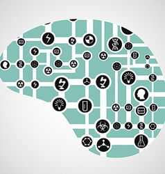 Circuit board with app icons in human brain vector