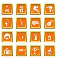 Circus entertainment icons set orange vector