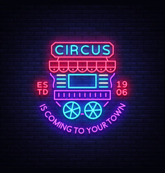 Circus truck logo in neon style design template vector