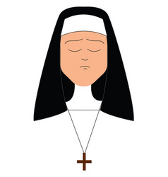 Clipart a sad nun or color vector