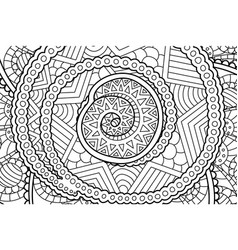 Coloring book page with abstract art with spiral vector