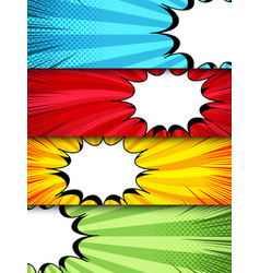 Comic dynamic horizontal banners vector