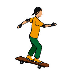 Cool young guy riding a skateboard with cap gloves vector
