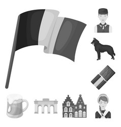 Country belgium monochrome icons in set collection vector