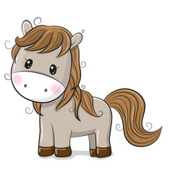 Cute cartoon horse on a white background vector