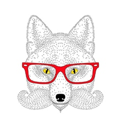 Cute fox portrait with french mustache beard vector image