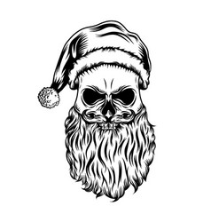 dead skull with christmas hat and little vector image
