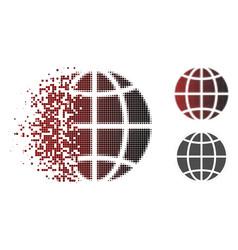 Disintegrating pixelated halftone globe icon vector