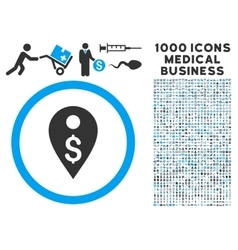 Dollar Map Marker Icon with 1000 Medical Business vector