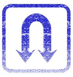 Double back arrow framed textured icon vector