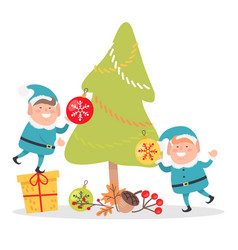 Elves in blue santa suits decorate christmas tree vector