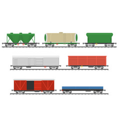 Essential trains collection of freight railway vector