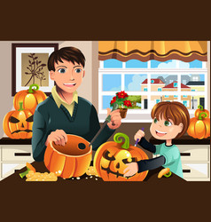 Father and son carving pumpkins vector