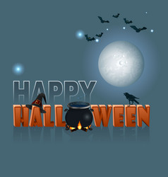 festive halloween card on blue background vector image