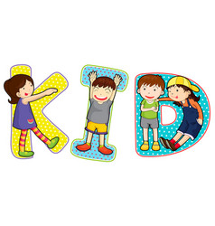font design for word kid vector image