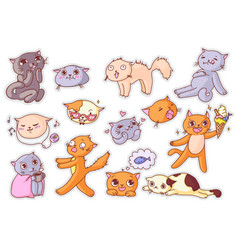 funny cat sticker with humorous expression set vector image