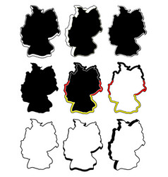 germany map symbol set icon design silhouette vector image