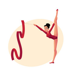 girl standing in vertical leg split rhythmic vector image