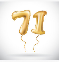 golden number 71 seventy one metallic balloon vector image