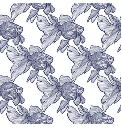 goldfish pattern in hand-drawn style vector image