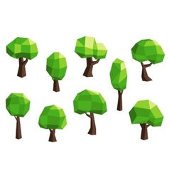 Green abstract polygonal tree icons vector image