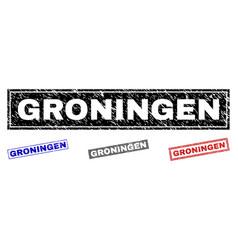 grunge groningen scratched rectangle stamps vector image