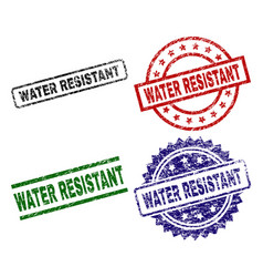 Grunge textured water resistant stamp seals vector