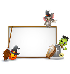 Halloween sign with bat frankenstein and pumpkin vector