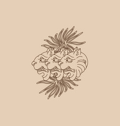 Hand drawn antique lions and palm leaves vector