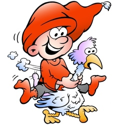 hand-drawn elf riding on a goose vector image