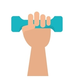 hand holding single dumbell icon vector image