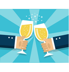 hands holding champagne glasses vector image
