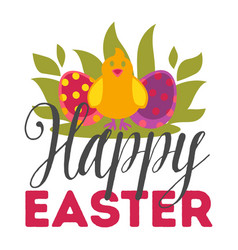 happy easter eggs and chicken christian holiday vector image