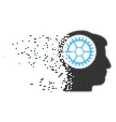 head cogwheel broken pixel icon vector image