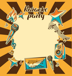 Karaoke party card music event background vector