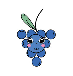 Kawaii cute happy grape fruit vector