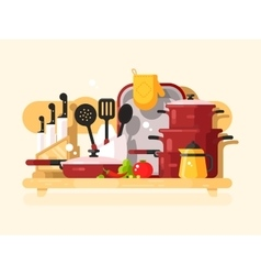 Kitchen dishes design flat vector image