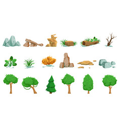 Landscape natural elements set of detailed icons vector