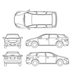 line drawing car white vehicle computer vector image