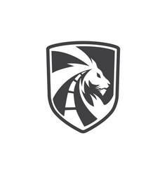 Lion ways shield vector