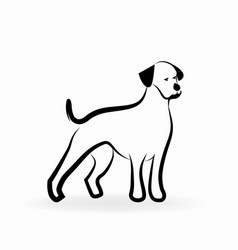 loyal dog line art icon vector image