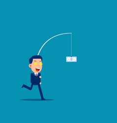 man running after money like money concept flat vector image