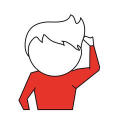 man scratching head cartoon icon image vector image