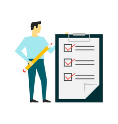 man standing with a big clipboard and to do list vector image