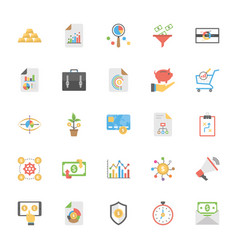 market and economics flat icons set vector image