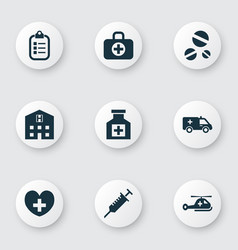 Medicine icons set with helicopter stings drug vector
